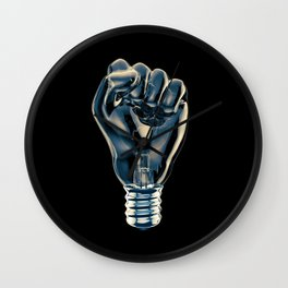 Protest fist light bulb / 3D render of glass light bulb in the form of clenched fist Wall Clock