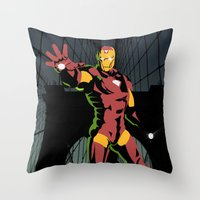 ironman Throw Pillows featuring ironman  by mark ashkenazi