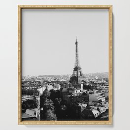 Paris City Sky // Eiffel Tower City Landscape Photography Shot from the top of Champs Elysees France Serving Tray