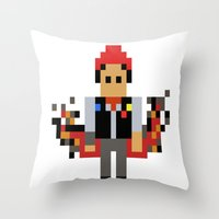 infamous Throw Pillows featuring Pixel Delsin Rowe (infamous) by 8 BITE