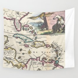 Vintage Map of The Caribbean (1747) Wall Tapestry