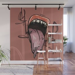 Tongue Out Mouth of a Woman // Sassy Lipstick  Wall Mural