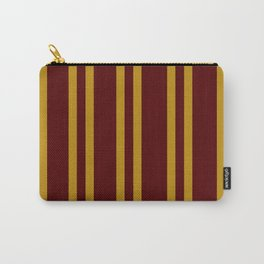 Burgundy and Mustard Yellow Stripes Carry-All Pouch