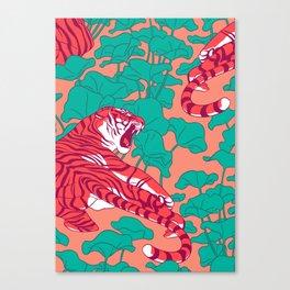 Scarlet tigers on lotus flower field. Canvas Print