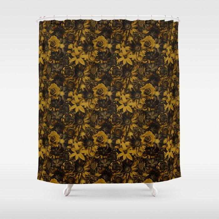 Classic Elegance Golden Flower - Enchanted Flowers Shower Curtain