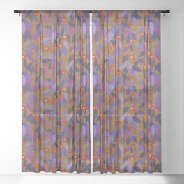 Berries and Leaves Paper Collage Floral Pattern Kumera Rust Violet Sheer Curtain