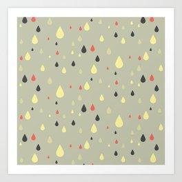 retro raindrops Art Print