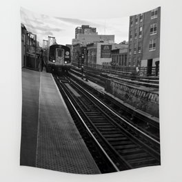 Black and White J Train Wall Tapestry