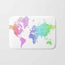 "Rainbow world map in watercolor style ""Jude"" Bath Mat"