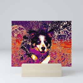 border collie jumping in water vector art late sunset Mini Art Print