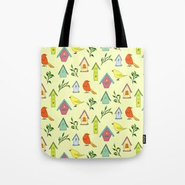 Birds and bird houses Tote Bag