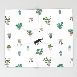 cats and pots pattern Throw Blanket