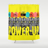 girl power Shower Curtains featuring Girl Power-Up by Butcher Billy