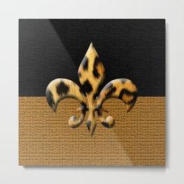 Leopard Fleur De Lis Symbol Metal Print