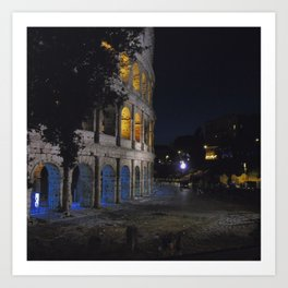 Colosseo di notte Art Print