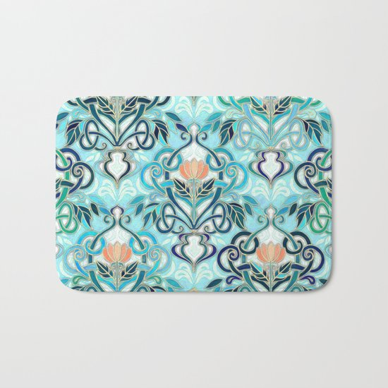 Ocean Aqua Art Nouveau Pattern with Peach Flowers Bath Mat
