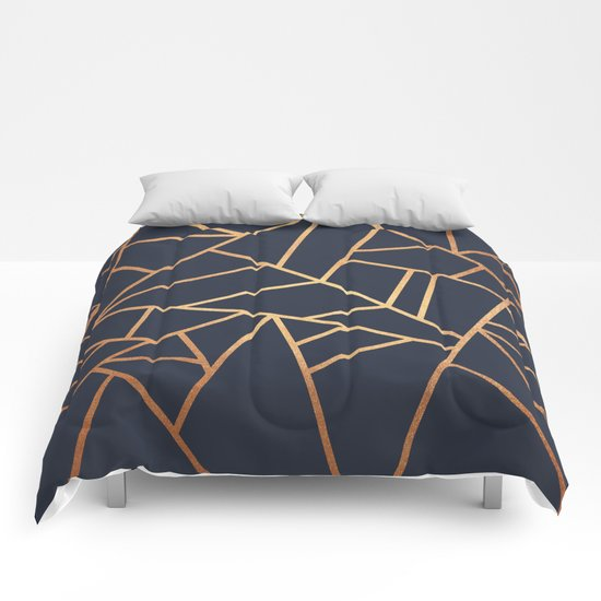 Copper And Midnight Navy Comforters By Elisabeth