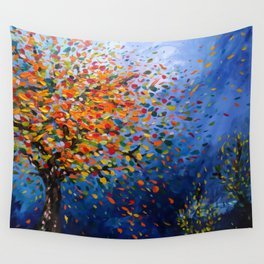 Fall Trees with Leaves Blowing in the Wind by annmariescreations Wall Tapestry