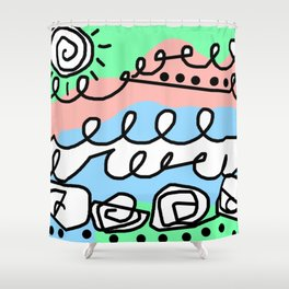 Crashing Wave - Black White Green Blue Shower Curtain
