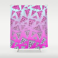 pizza Shower Curtains featuring PIZZA by TheYUCK