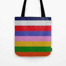 Knitted colorful stripes  Tote Bag