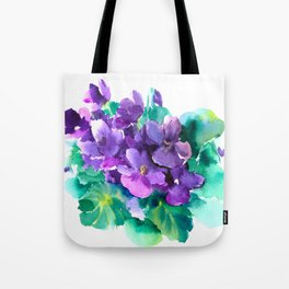 Violet Flowers  Sainpaulia African Violets violet purple yellow floral decor Tote Bag