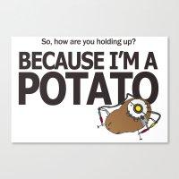 portal 2 Canvas Prints featuring Hello Potato Portal 2 by Komrod