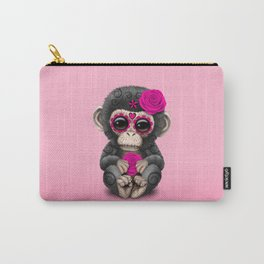 Pink Day of the Dead Sugar Skull Baby Chimp Carry-All Pouch