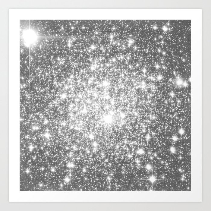 Silver Gray Galaxy Sparkle Stars Art Print