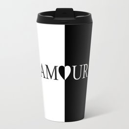 AMOUR LOVE Black And White Design Travel Mug