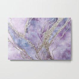 Elegant Pastel  Pink Purple Watercolor Marble Metal Print