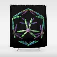 3-D on Black Shower Curtain