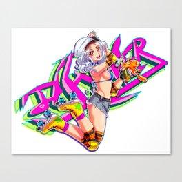 Roller Skating Girl Canvas Print