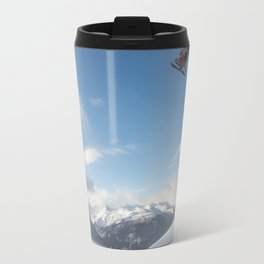 Skiers on chairlift 2 Travel Mug