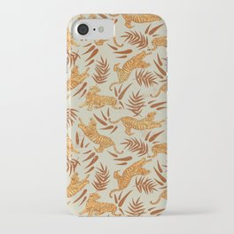 Vintage Golden Tigers Pattern / Big Cats, Leaves, Nature iPhone Case