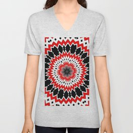 Bizarre Red Black and White Pattern Unisex V-Neck