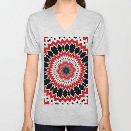 Bizarre Red Black and White Pattern Unisex V-Neck