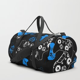 Video Game Blue on Black Duffle Bag
