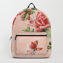Vintage garden coral red Victorian roses on washed blush pink watercolor Backpack