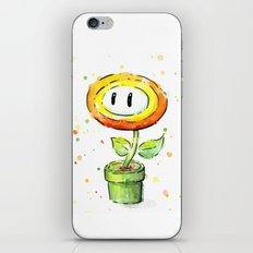Fire Flower Watercolor Painting Mario Game Geek Art iPhone & iPod Skin