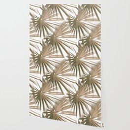 Brown on White Tropical Vibes Beach Palmtree Vector Wallpaper