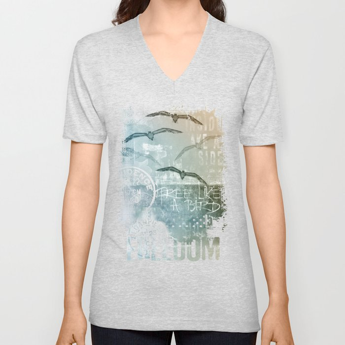 Free Like A Bird Seagull Mixed Media Art Unisex V-Neck