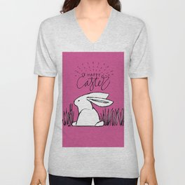 Happy Easter Pink Bunny Rabbit in Grass Unisex V-Neck