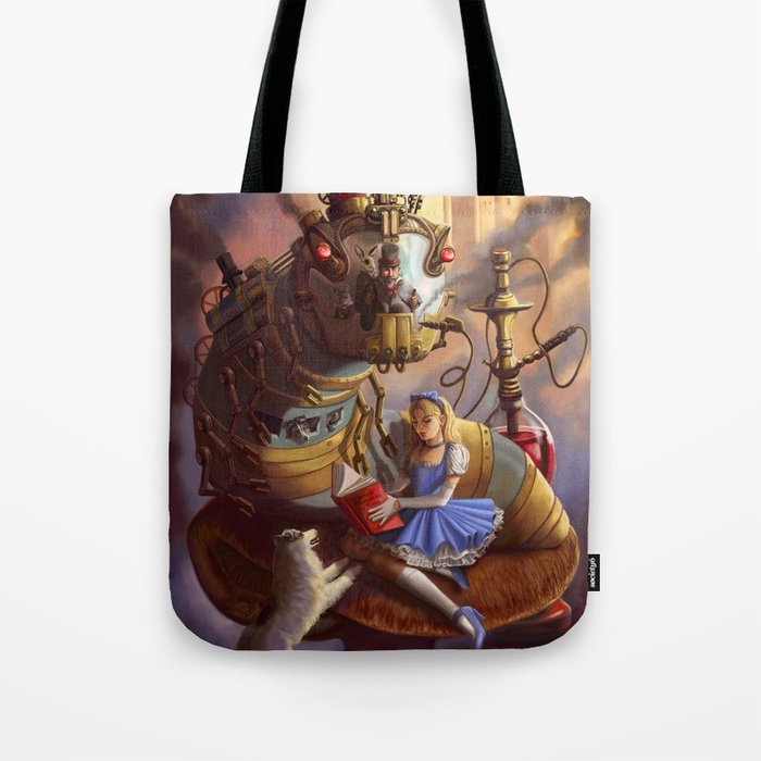 Sandra's Steampunk Alice in Wonderland Tote Bag