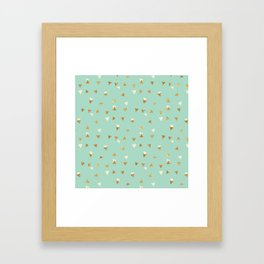 Pastel green ivory faux gold glitter abstract triangles Framed Art Print