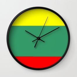 Flag of Lithuania – Lietuva,Lithuanian,Lietuvos,vilnius,kaunas,baltic,viking. Wall Clock