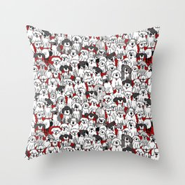 Sheepdogs On Watch RED Throw Pillow
