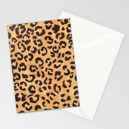 Modern trendy brown beige watercolor hand painted leopard pattern Stationery Cards