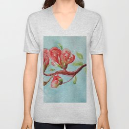 Vermilion Blossoms watercolor by CheyAnne Sexton Unisex V-Neck
