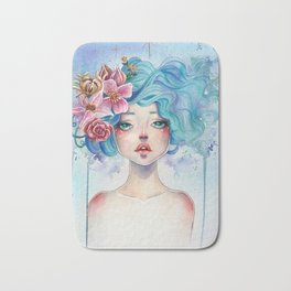 Blue Hair Bath Mat